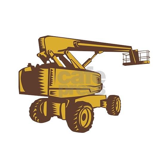 Cherry Picker Mobile Lift Platform Woodcut