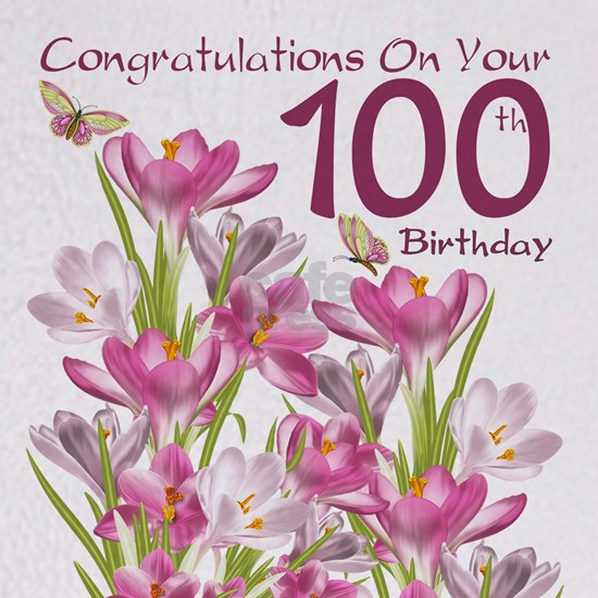 100th Birthday Pink Crocus And Butterflies