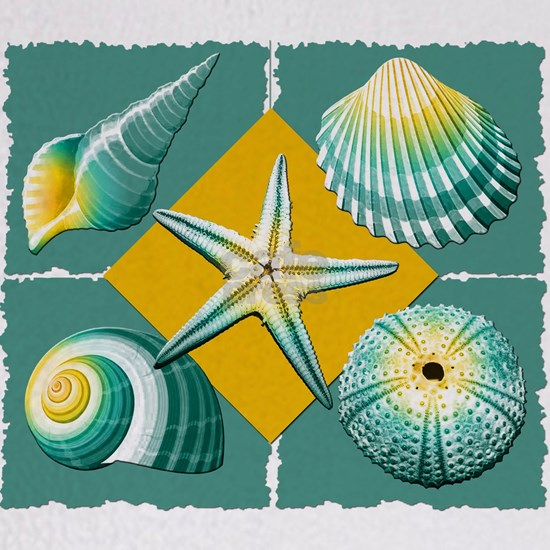 Collage of Beach Seashells Green and Yellow