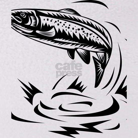 trout fish jumping woodcut