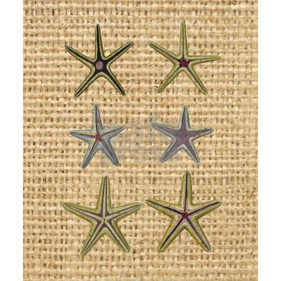 starfish  seashell burlap beach art