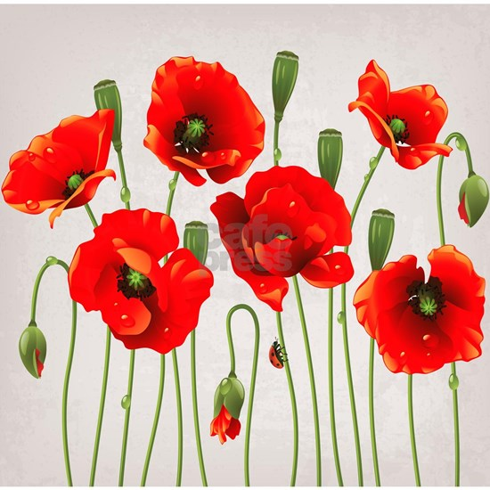 Painted Red Poppies