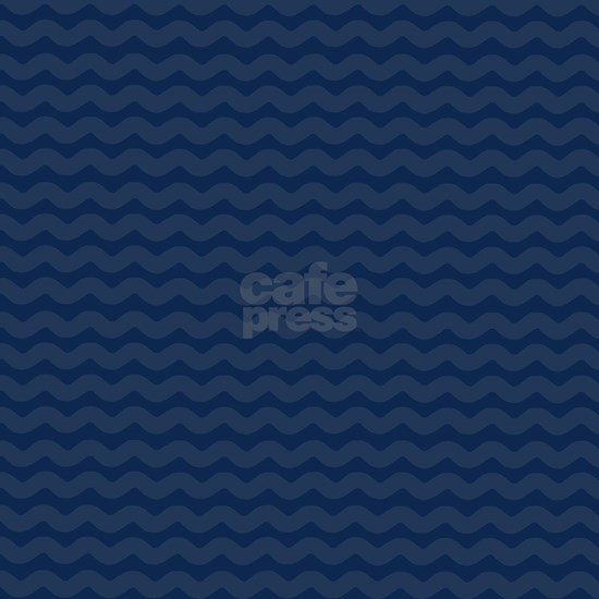 Navy Blue Wavy Lines Pattern Tile Coaster