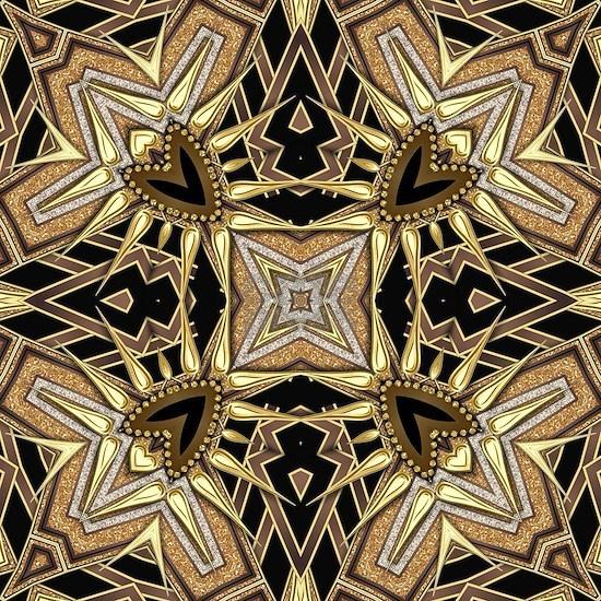 Art Deco Black Gold Hearts
