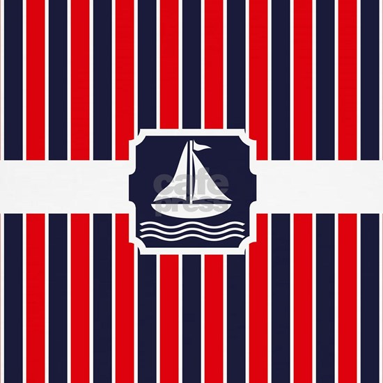Nautical Sailboat Red | Blue Stripes