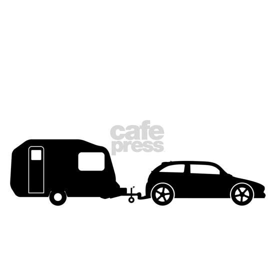 Car Towing Caravan Silhouette