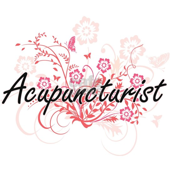 Acupuncturist Artistic Job Design with Flowers