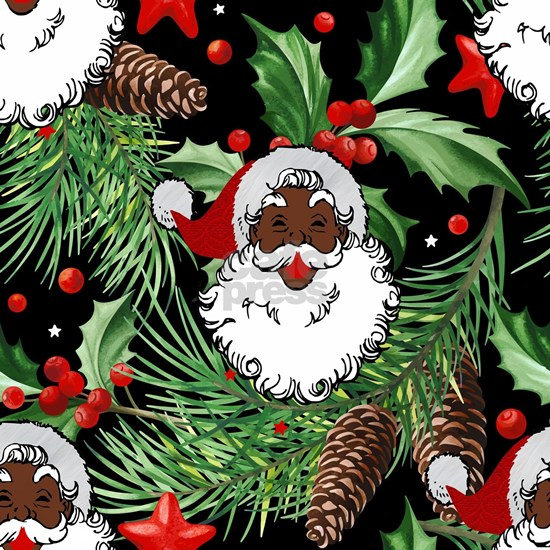 xmas holly black santa claus