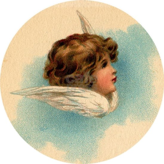 Vintage Angel Head and Wings