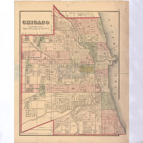 Vintage Map of Chicago Illinois (1876)