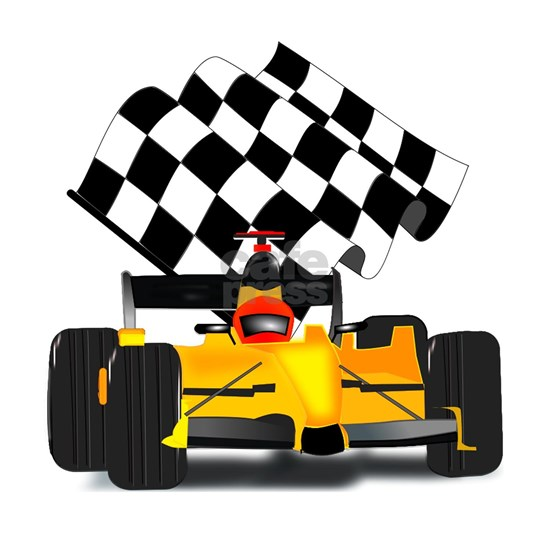 Yellow Race Car with Checkered Flag