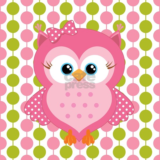 Pink Owl on Pink and Green