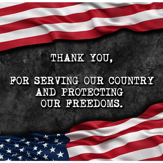Patriotic quote. Thank you veterans.