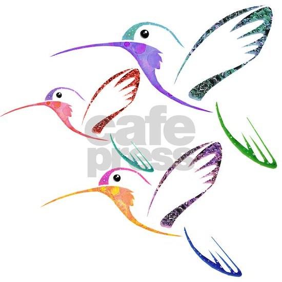 Patchwork Trio of Hummingbirds