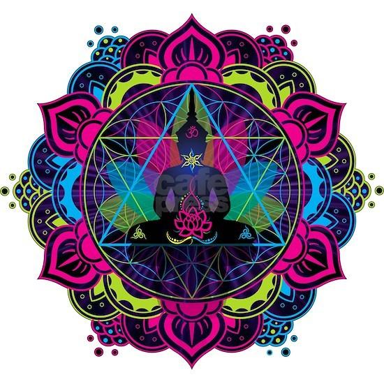 Buddha Meditating Sacred Geometry Mandala