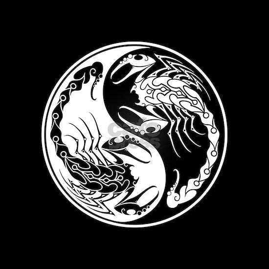 White Yin Yang Scorpions on Black