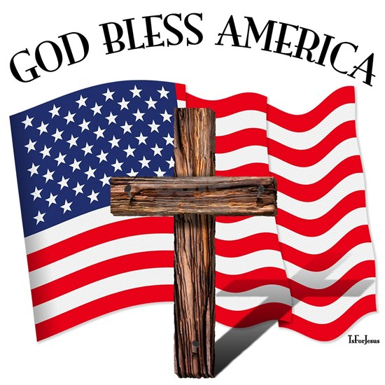 God Bless American With US Flag and Rugged Cross