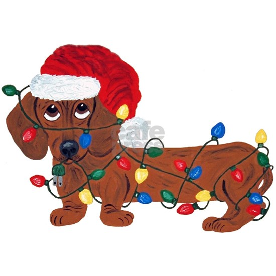Dachshund (Red) Tangled In Christmas Lights