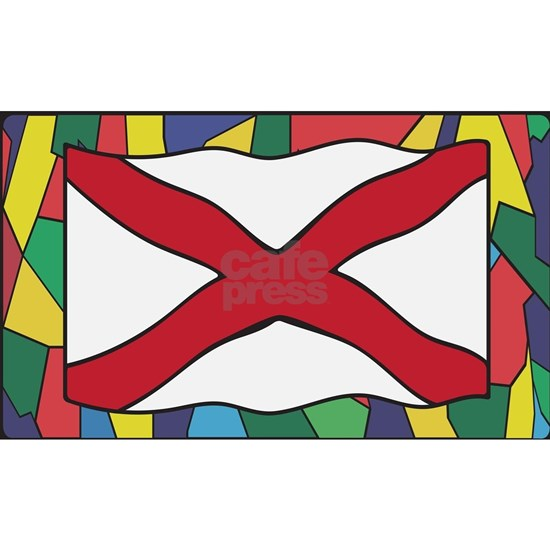 Alabama Flag On Stained Glass