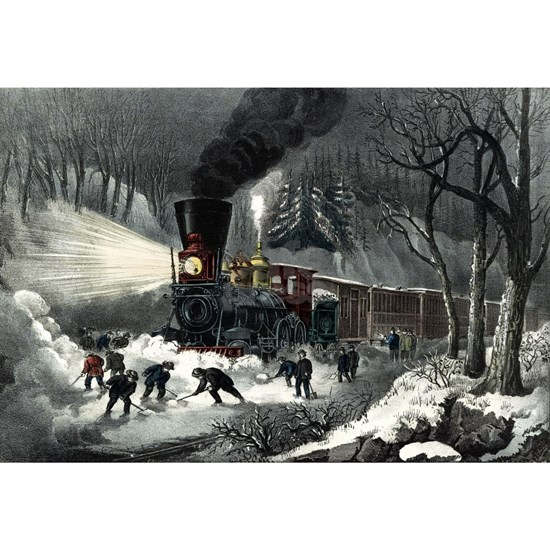 American railroad scene - snowbound - 1871