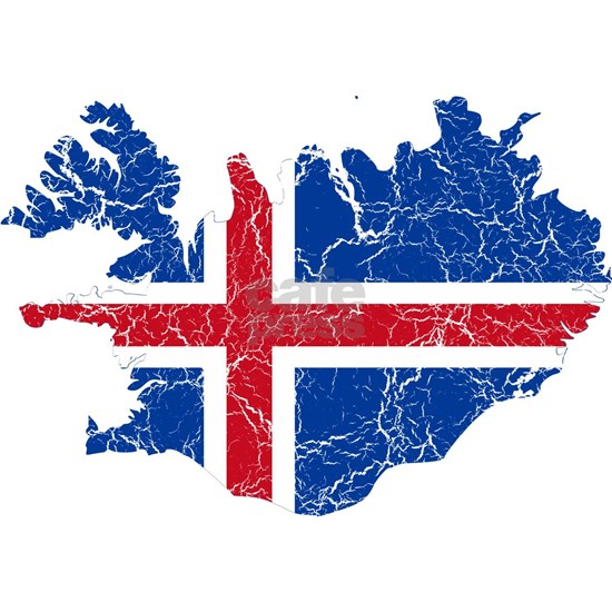 Iceland Flag and Map Cracked