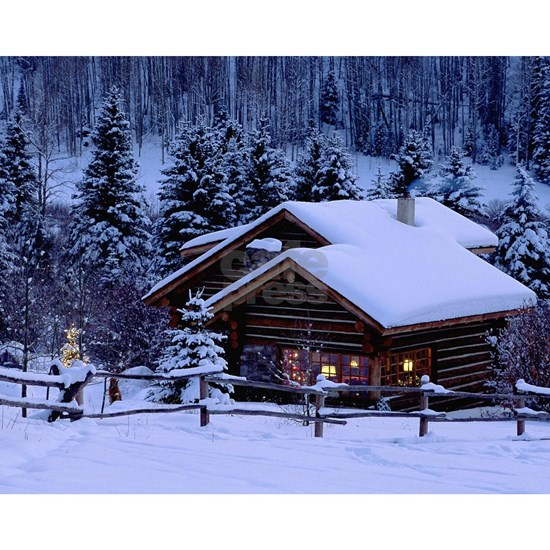 Log Cabin During Christmas