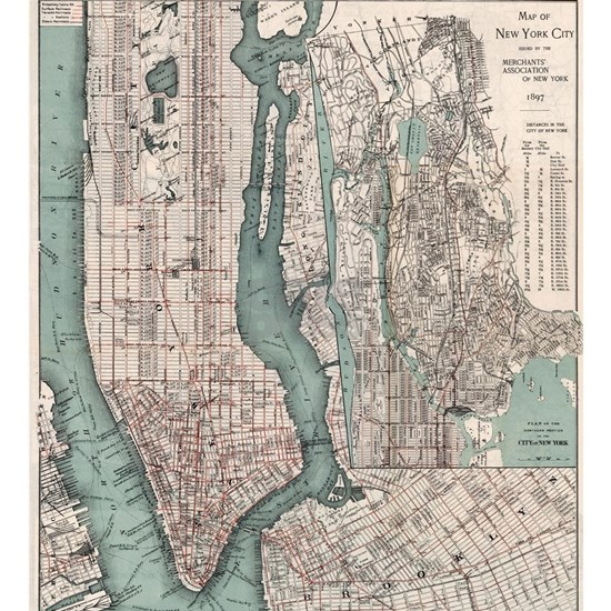 Vintage Map of New York City (1897)