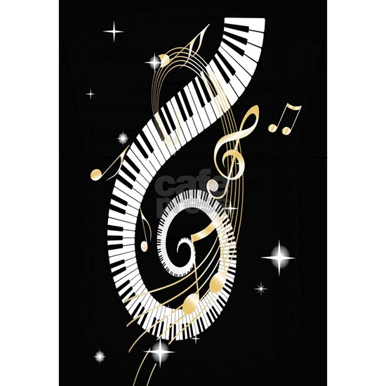 musical notes and keyboard
