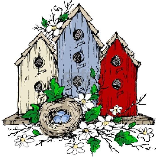 Three Birdhouses and a Nest copy