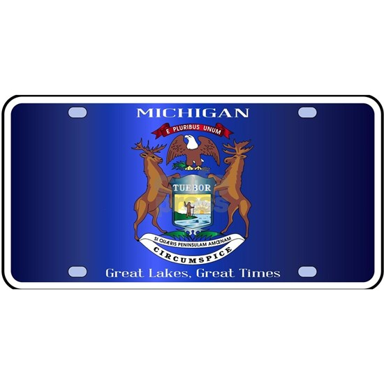 Michigan License Plate Flag