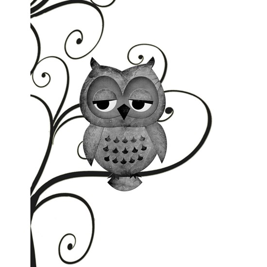Black White Swirly Tree Owl