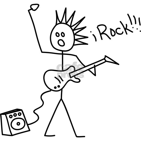 iRock Stick Man with Spiked Hair Plays Electric Gu by