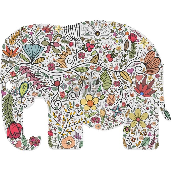 Floral Elephant Silhouette