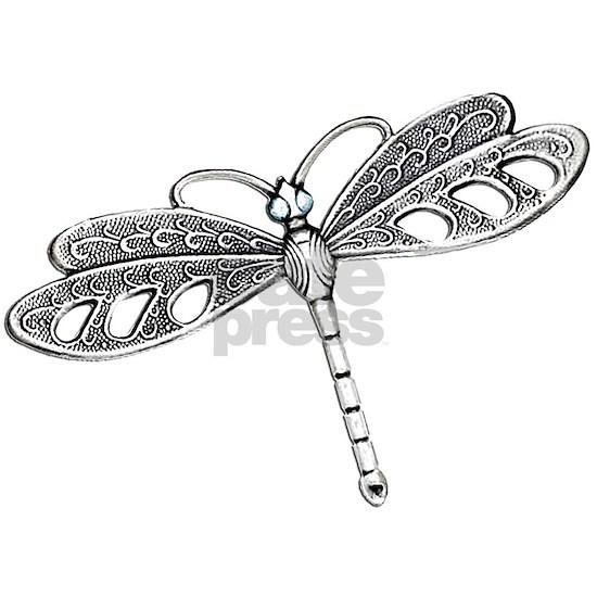 Metallic Silver Dragonfly
