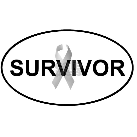 Cancer Survivor Oval Euro Sticker Decal