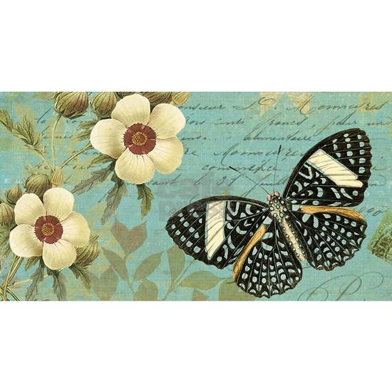 Modern vintage french butterfly postcard