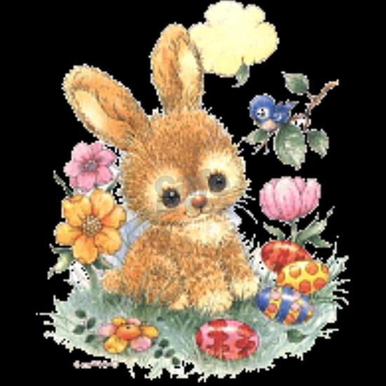 Cute Easter Bunny with Flowers and Eggs