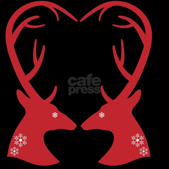 Christmas deers with heart shaped antlers