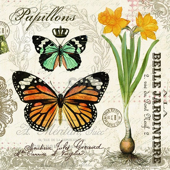 Modern Vintage Butterflies and Daffodils