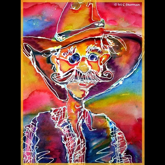 Cowboy! Colorful, fun art!