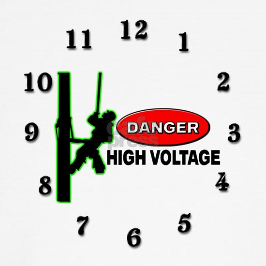 DANGER HIGH VOLTAGE CLOCK