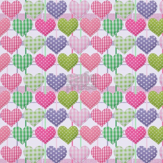 Gingham Hearts Pastel Pattern