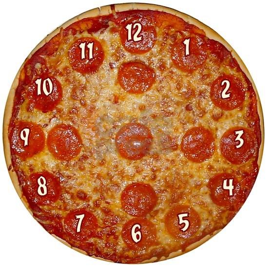 Pizza clock face w/ numerals