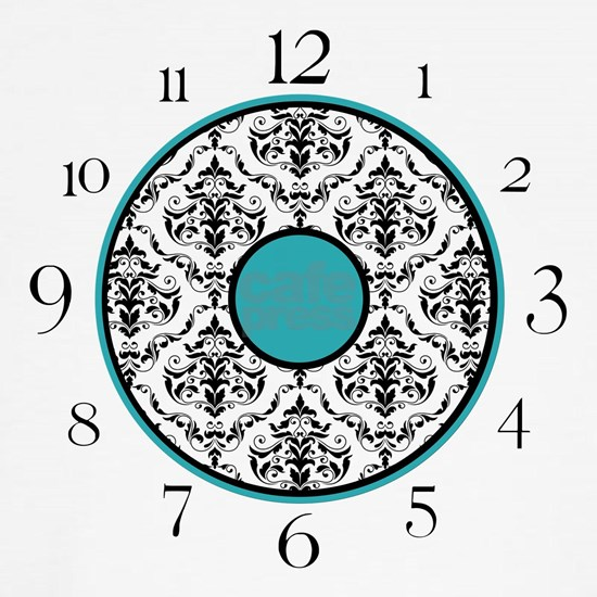 Turquoise Black  White Damask Elegant Clock