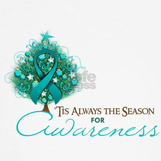 Teal Ribbon Xmas Tree