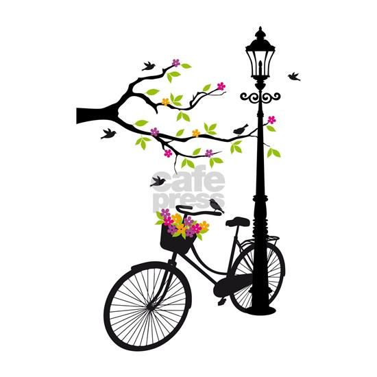 Old vintage bicycle with tree