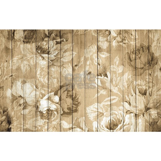 Shabby Chic Country Floral Peony Wood