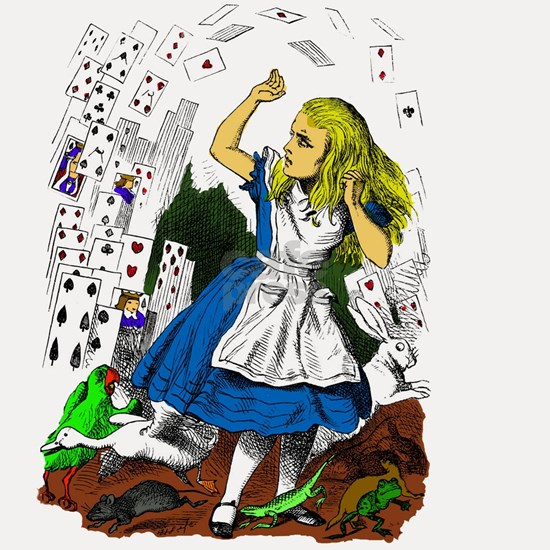 Attack of the cards Alice in wonderland