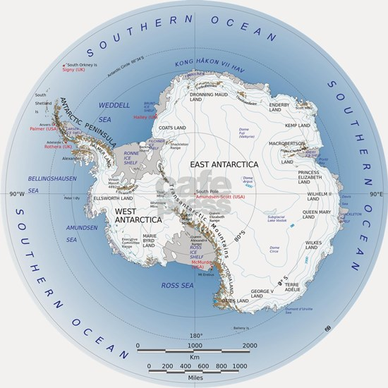 Antarctica labeled map
