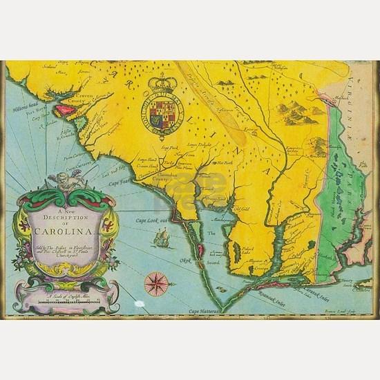 Vintage Map of the Carolina Coast